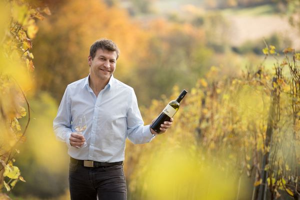 Martin Zieger im Weingarten mit einer Flasche Rotwein